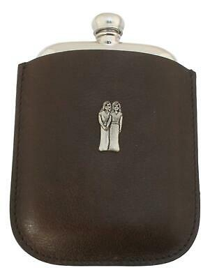Gemini The Twins Pewter 4oz Kidney Hip Flask In Leather Pouch FREE ENGRAVING 149