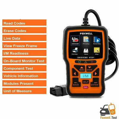 Foxwell Fault Code Reader OBD2 Scanner Engine Car Diagnostic Reset Tool NT301