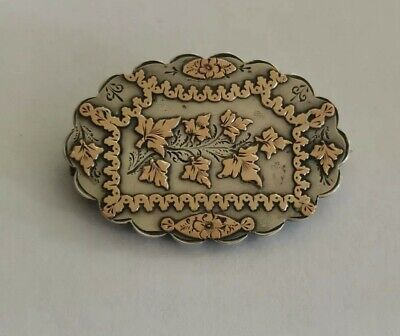 Antique silver aesthetic movement Victorian brooch