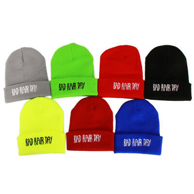 Unisex Women Men Warm Embroidered Bad Hair Day Hip-hop Caps Knitted Beanie Hats