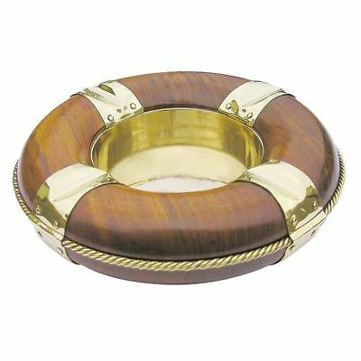 G4263: Maritime Ashtray, Lifesaver Brass Wood