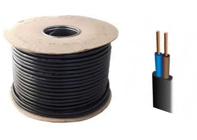 Black Flex 2 Core 0.5mm Cable Wire PVC Extension Lead Wiring Various Lengths