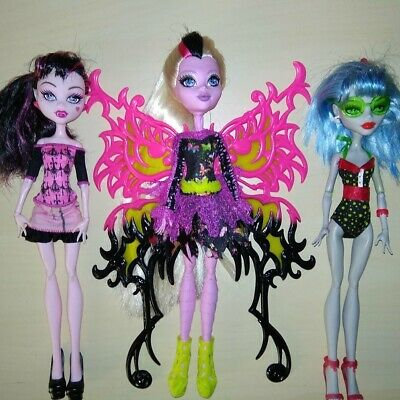 Monster High LOT Draculaura, Bonita Femur, Ghoulia Yelps GREAT COND!!