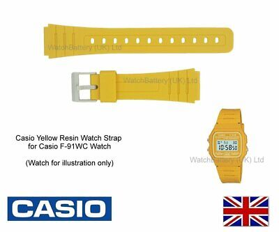 Genuine Casio Watch Strap Band for F-91WC, F-91WC-9, F91 Watch - Yellow 10361916