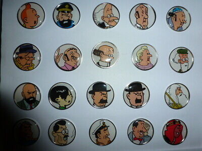 Metal Pins 20 Personnages Differents Tintin Serie Fond Blanc