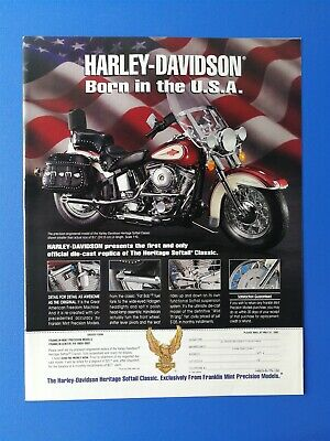 Franklin Mint Harley Davidson Born in the USA Die-Cast Full Page Original Ad