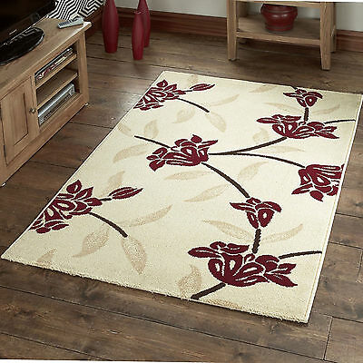 Small Large 12mm Thick Ivory Red Hand Carved Modern Quality Floral Soft Sale Rug