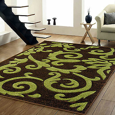 Small Large Modern Hand Carved Thick Brown Green Abstract Design Quality Rugs