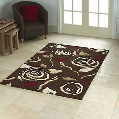 Small Modern Hand Carve Rosina 12mm Thick Brown Red Rose Design High Quality Rug