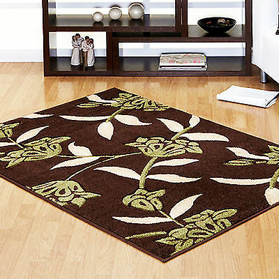 New Rug Modern Quality Jasmine Floral Carved 12mm Thick Brown Green High Quality