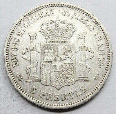 ESPPAÑA AMADEO I 1871 *18-71 SDM Perfect 5 PESETAS MONEDA PLATA MBC+