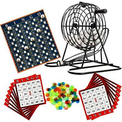 Deluxe Bingo Lotto Traditional Family Party Game Play Set Metal Cage