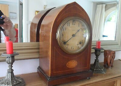 ANTIQUE ANSONIA  Lancet chiming  Mantle Clock c1910  Inlaid Mahogany