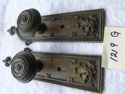Vintage Antique LG Heavy Cast Bronze Brass Door Hardware 1900 SET 1219 G