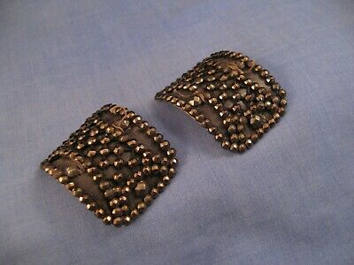 Antique Victorian Pair Shoe Buckles Marcasites Theatre Stage Props French ?