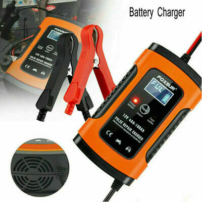 12V 5A LCD Intelligent Battery Charger Pulse Repair For Car Motorcycle UK Plug
