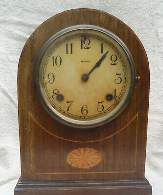 Antique Ansonia  chiming  Mantle Clock circa 1910  Mahogany with inlay