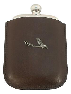 Mayfly Pewter 4oz Kidney Hip Flask Leather Pouch FREE ENGRAVING 237