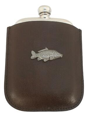 Mirror Carp Pewter 4oz Kidney Hip Flask Leather Pouch FREE ENGRAVING 240