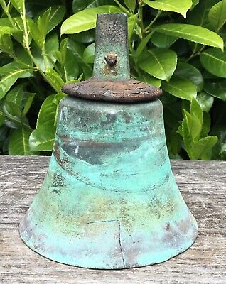 Old Antique Brass Bell Verdigris Patina Marked 17 JT Leather Cap No Clanger