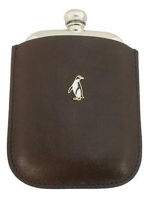 Penguin Enamel Pewter 4oz Kidney Hip Flask In Leather Pouch FREE ENGRAVING 265