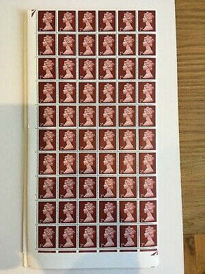 1967 1969 Stamps  Machin Complete Sheet - Pre Decimal - 2d Lake Brown 240 stamps