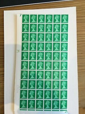 1967 1969 Stamps Machin Complete Sheet - Pre Decimal - 7d Green 240 stamps
