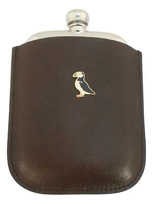 Puffin Enamel Pewter 4oz Kidney Hip Flask Leather Pouch FREE ENGRAVING 289