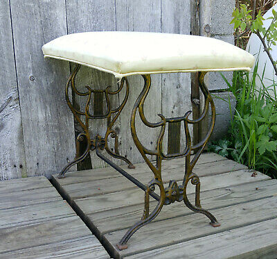 Antique Vintage Art Deco Cast Iron Lyre Music Piano Vanity Bench, Upholstery