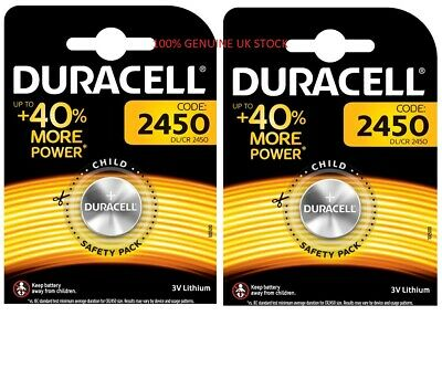 100% Genuine 2 X Duracell Cr2450 3V Lithium Coin Cell Battery 2450 Dl2450 K2450L