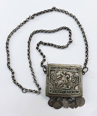 Antique Greek Silver Saint George Amulet Pendant 1800s