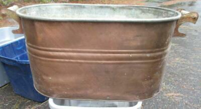 Vintage COPPER BOILER with Wood Handles  PLANTER   Log Holder  No Lid
