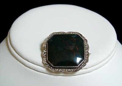Antique 1800s Georgian Scottish Bloodstone Etch Silver Frame Early CClasp Brooch