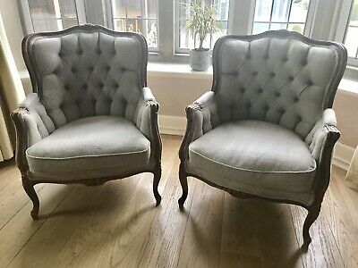 Pair Of French Louis XV Bergere Reupholstered Armchairs