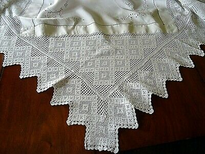 Antique Linen Hand Embroidered & Crochet Lace Tablecloth