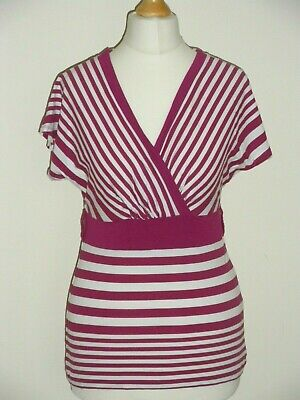 Womens Short Sleeve Striped Fitted Top Size 8 Stretch Top V-Neck Pink & White