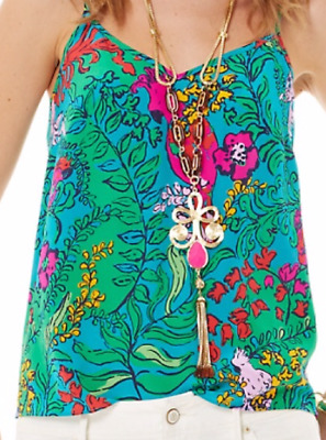 5978f270d592e1 LILLY PULITZER Dusk Racer Back Tank Cami Shake Your Tailfeather Silk XS