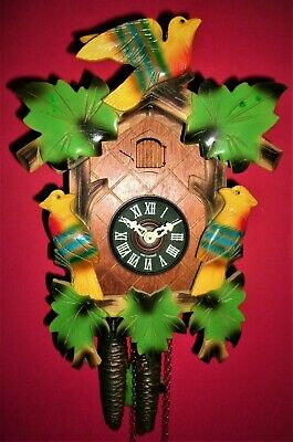 Multi-Colored Old Style Cuckoo clock #5 w/Night Silencer-Free USA Shipping!