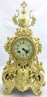 Antique Mantle Clock French Stunning 1880s Embossed Pierced Bronze Bell Striking