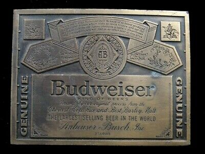 SB07125 VINTAGE 1970s *GENUINE BUDWEISER KING OF BEER* ADVERTISEMENT BELT BUCKLE