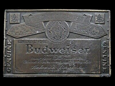 SB07131 VINTAGE 1970s **GENUINE BUDWEISER LAGER BEER** ADVERTISEMENT BELT BUCKLE