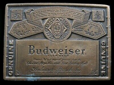 SB07102 VINTAGE 1970s **GENUINE BUDWEISER LAGER BEER** ADVERTISEMENT BELT BUCKLE