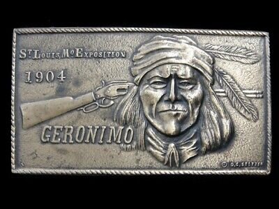 SB07116 VINTAGE 1970s **GERONIMO ST. LOUIS MO. EXPOSITION** INDIAN ART BUCKLE
