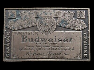 SB07127 VINTAGE 1970s **GENUINE BUDWEISER LAGER BEER** ADVERTISEMENT BELT BUCKLE