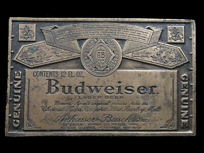 SB07134 VINTAGE 1970s **GENUINE BUDWEISER LAGER BEER** ADVERTISEMENT BELT BUCKLE
