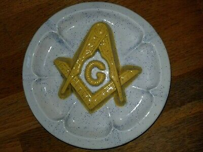 Ceramic FREEMASONS MASONIC ASHTRAY 8 1/2 inches across