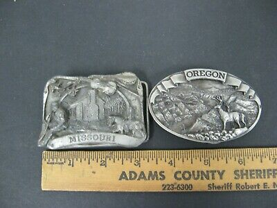 Siskiyou Buckle Co Oregon DEER 1978 Missouri State Pewter Belt Buckle LOT