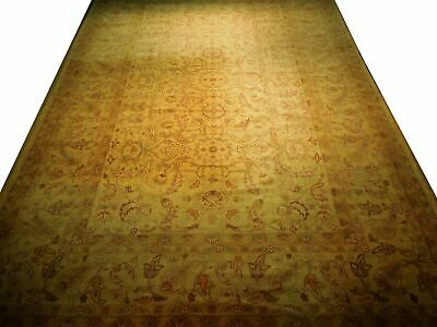 New Vintage Look Perfect Chobi Hand-Knotted 12x18 Beige Oushak Wool Rug