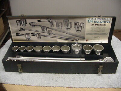 "Vintage Ih International Harvester 3/4"" Drive 21 Piece Socket Set 999 549 R1"