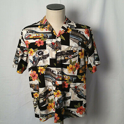 270adc5c KALAHEO Mens War Planes Bomber WW2 Pinup Girl Print Hawaiian Shirt Large